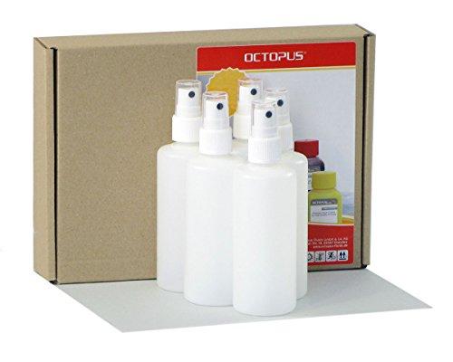 5 x 100 ml Sprühflaschen mit Fingerzerstäuber, Plastikflaschen mit Pumpsprüher, Kunststoffflaschen aus HDPE mit Zerstäuber, inkl. 5 Beschriftungsetiketten