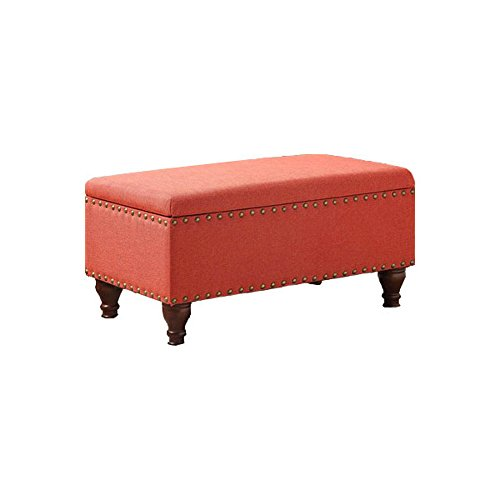 HomePop Quality Elegant Stylish Coral Finish Filander Upholstered Storage Bench, 16.75