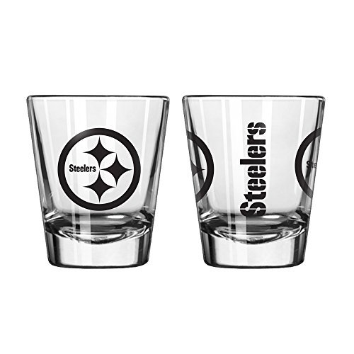 Steelers Shot Glasses - Official Fan Shop Authentic NFL Logo 2 oz Shot Glasses 2-Pack Bundle. Show Team Pride at home, your Bar or at the Tailgate. Gameday Shot Glasses for a goodnight (Pittsburgh Steelers)