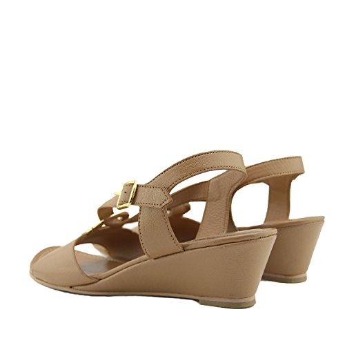 de de Cuero de Cuña Mediados Comodidad Talón Vacaciones Mujeres Bronceado Zapatos de Verano la Sandalias Las a de de Baja de 5vSUwqS