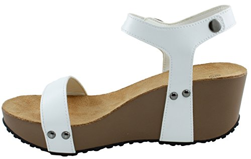 Wedge Sandal Open Toe Studded Select Strappy Cambridge White Buckle Womens Ankle Platform q6vWzw