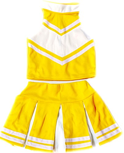 [Little Girls' Cheerleader Cheerleading Outfit Uniform Costume Cosplay Pale Yellow / White (M / 5-8)] (Cheerleader Kids Outfit)