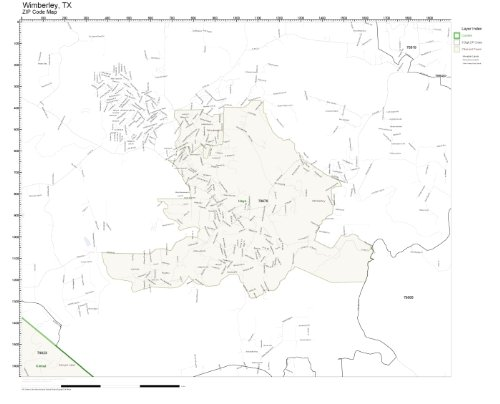 ZIP Code Wall Map of Wimberley, TX ZIP Code Map Laminated (Wimberley Tx)