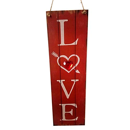 ywbtuechars Valentines Day Decorations Gifts Long Wooden Love Hanging Sign Plaque Home Garden Door Wall Valentine Day Decor - Red from ywbtuechars