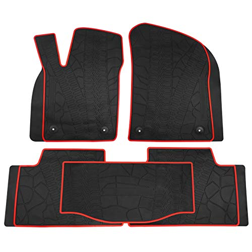 biosp Car Floor Mats for Jeep Grand Cherokee 2017 2018 2019 Front And Rear Heavy Duty Rubber Liner Set Black Red Vehicle Carpet Custom Fit-All Weather Guard Odorless - Mat Cargo Red
