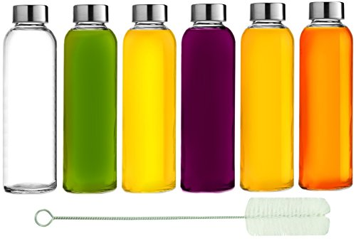 Brieftons Glass Water Bottles: 6 Pack, Large 18 Oz, Stainless Steel Leak-Proof Lid, Premium Soda Lime, BPA Free, Best As Reusable Drinking Bottle, Sauce Jar, Juice Container, Kombucha and Kefir Kit (Leak Proof Sauce Container compare prices)
