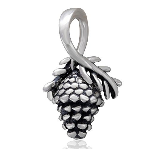 925 Sterling Silver Pinecone Charms Christmas Charm Bead Winter Charm fit Christmas Charm Bracelet