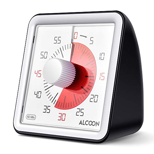 Alcoon 60 Minute Visual Analog Timer 3 Inch Silent Countdown Timer Kitchen Timer Time Management Tool for Classroom or Meeting Countdown Clock for Kids and Adults (Black) ()