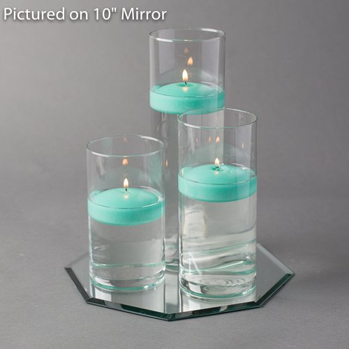 Eastland Octagon Mirror and Cylinder Vases Centerpiece with Richland Floating Candles 3''. 48 Piece (8'' Mirror, Aqua Green) by Eastland