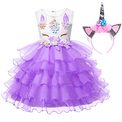 Muababy Baby Girl Unicorn Costume Pageant Flower Princess Party Dress with Headband (3-4 Years, -