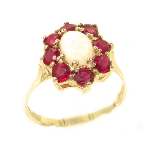 - LetsBuyGold 14k Yellow Gold Natural Opal and Ruby Womens Cluster Ring - Size 6.75
