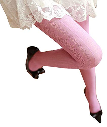- SurBepo Women Fishnet Hollow Out Chiffon Lace Stockings Tights Vertical Strips Pantyhose For Female (Pink, One Size)