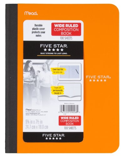 Five Star Composition Book, Wide Ruled, 100 Sheets, 9.75 x 7.5 Inch Sheet Size, Assorted - Color May Vary (09006) Photo #2