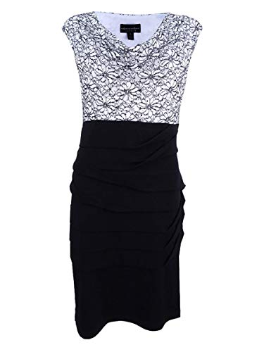 (Connected Apparel Women's One Piece Lace Drape Neck Bodice with Solid Jersey Twisted Tiered Skirt, White/Black, 12)