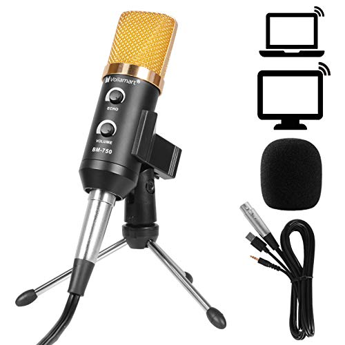 Voilamart Condenser Microphone, Plug & Play Home Studio Vocal USB Recording Microphone With Desktop Stand, for PC Laptop Tablet IPhone Ipad Podcasting Recording on Skype, YouTube, Google Voice Search