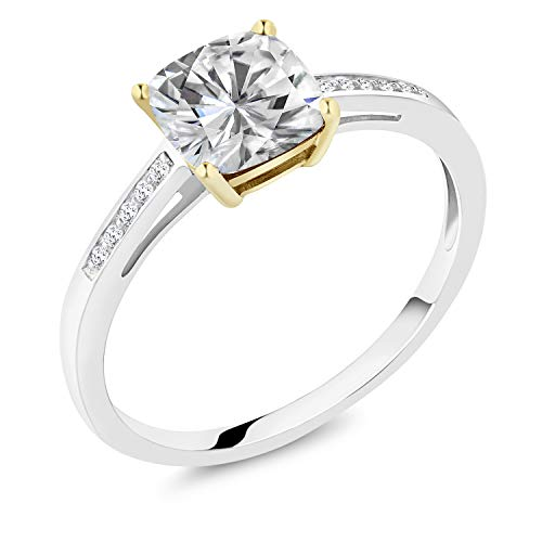 925 Sterling Silver Solitaire w/Accent Stones Engagement Ring Forever Brilliant (GHI) Cushion 1.70ct (DEW) Created Moissanite by Charles & Colvard (Size 8) (Round Diamond Solitaire Engagement Ring In Sterling Silver)