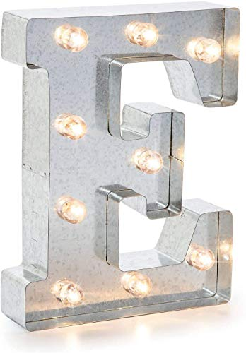 Darice Silver Metal Marquee Letter - E - Vintage-Style Lighted Marquee Letter with On/Off Switch, Ideal for Weddings, Special Events, and Room Décor, Galvanized Metal Finish, 9.87 Inch Tall (Diy Barn Christmas Pottery)