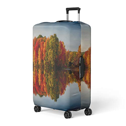 Semtomn Luggage Cover Foliage Fall Colors Reflecting in Pond Water Reflection Leaves Travel Suitcase Cover Protector Baggage Case Fits 18-22 Inch