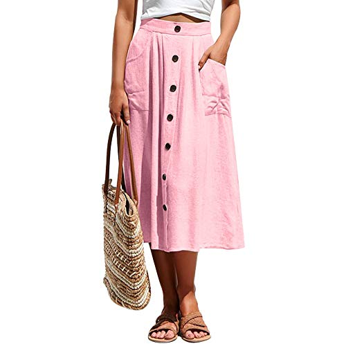 (Exlura Women's High Waist Button Front A-line Skirt Pleated Midi Skirt with Pockets Pink)