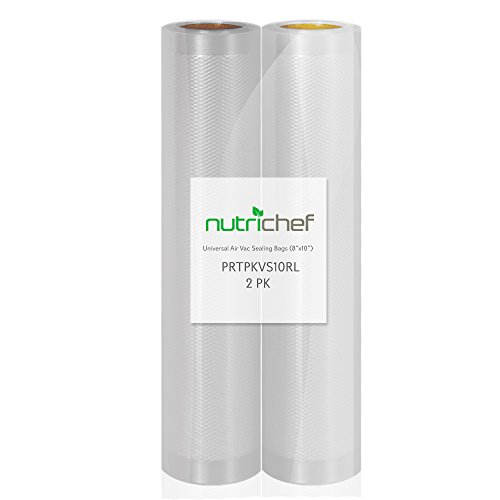 NutriChef Two 8''X10' 4 mil Commercial Grade Vacuum Sealer Food Storage Rolls | Create Your Own Size Bag! For NutriChef, Foodsaver, and Other Brands. by NutriChef