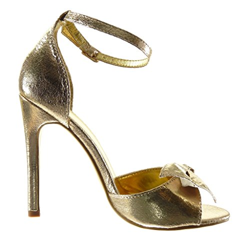 Angkorly - Zapatillas de Moda Sandalias Tacón escarpín sexy stiletto mujer pajarita brillantes tanga Talón Tacón de aguja alto 11 CM - Oro