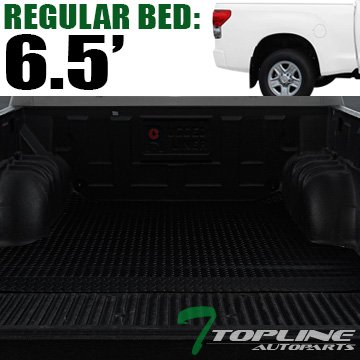 Topline Autopart Black Rubber Diamond Plate Truck Bed Floor Mat Liner For 07-18 Toyota Tundra 6.5 Feet (78