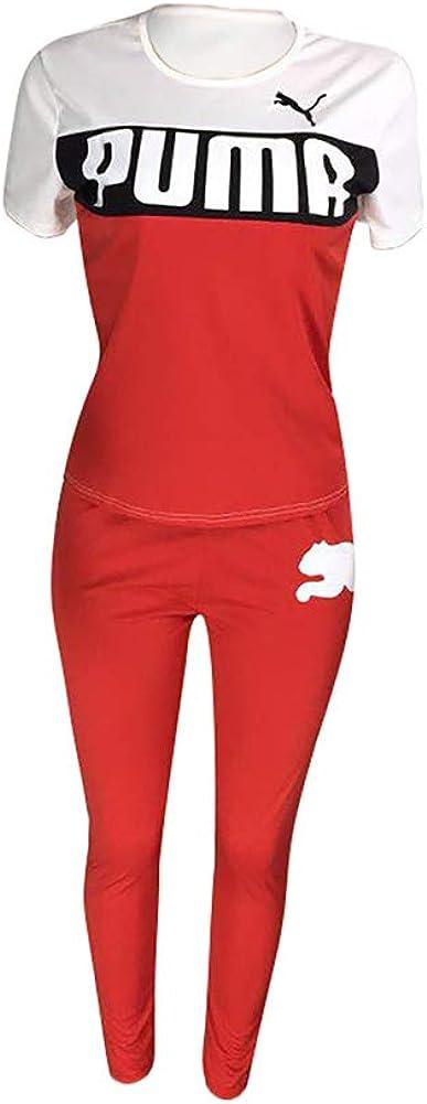 Womens Bodycon Letter Print 2 Piece Outfits Short Sleeve T-Shirt High Waist Long Pants Jumpsuits Sets