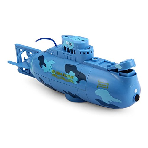 Electric Toy Boats (Kids Mini RC Toy Remote Control Boat Submarine Ship Electric Toy Waterproof Diving in Water for Gift 6 Channel Remote Control Submarine- Blue)