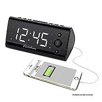 """La radio reloj despertador Electrohome con carga USB para teléfonos inteligentes y tabletas incluye alarma dual, batería de respaldo, ajuste automático de hora y pantalla LED de 1.2 """"con 4 opciones de atenuación (EAAC470W)"""