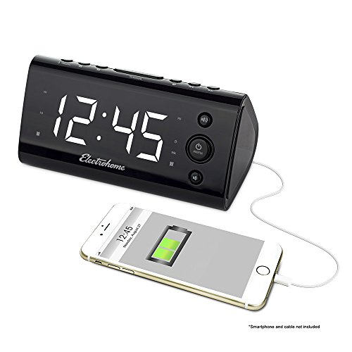 Electrohome Alarm Clock Radio with USB Charging for Smartphones & Tablets includes Dual Alarm, Battery Backup, Auto Time Set & 1.2 LED Display with 4 Dimming Options (EAAC470W)