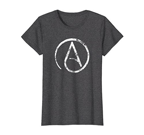 Womens Distressed Atheism, Atheist Symbol T Shirt. Large Dark ()