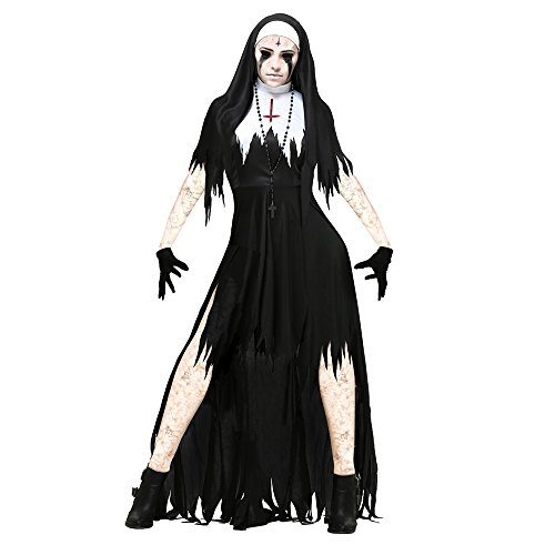 Kyson Women's Dreadful Nun Costume Halloween Gothic Cosplay Black Long Dress with Necklace (XL) - Medieval Nun Costumes