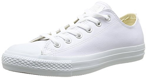 Converse Unisex Chuck Taylor All Star Leather Ox White Monochrome Men's 7.5, Women's 9.5 Medium ()