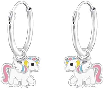 Rainbow love Licorne Boucles doreilles Cr/éoles LRP Unicorn en argent 925 cheval pour enfant fille