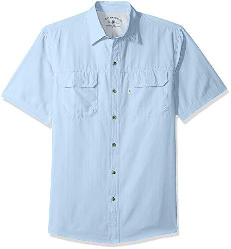 G.H. Bass & Co. Men's Explorer Short Sleeve Button Down Fishing Shirt Solid Flap Pocket, Chambray Blue 1, Medium