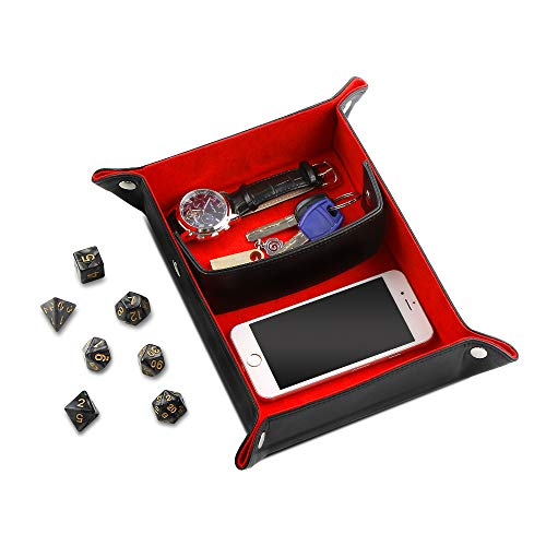 AtailorBird Jewelry Tray Dish Key Holder Travel Organizer Nightstand Bedside Ring Storage with D&D Dice for Bedroom Entrance Office ()