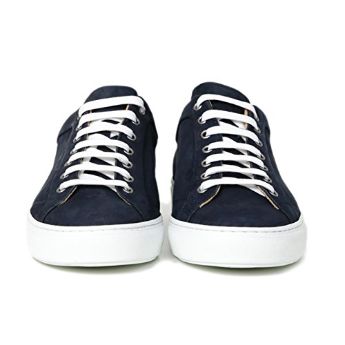 Sneakers Uomo in Pelle Scamosciata Blu Stringata di Colore Blu Scarpe Sportive Uomo Blu Sneakers Leather Blue Made in Italy