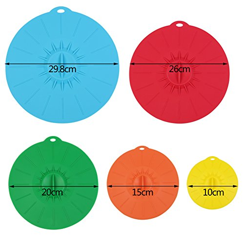 Silicone Suction Lids, Fredhome Set of 5 Reusable Suction Seal Microwave Food Covers for Bowls, Pots, Cups, Pans (5 Sizes, Mixed Color)