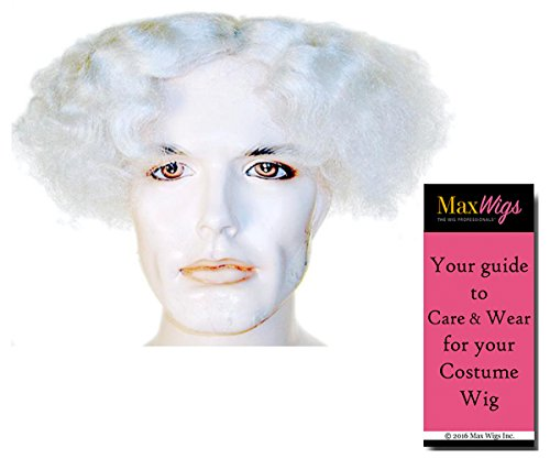 Mad Scientist Color WHITE - Lacey Wigs Einstein Doc Back to Future Flat Afro Top Bundle with MaxWigs Costume Wig Care Guide