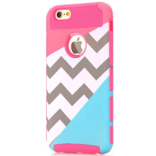 iPhone 5 Case,iPhone 5S Case,LUOLNH [2in1] Heavy Duty Hybrid Hard Case for Apple Iphone 5/5s ,Blue Mint Teal and Coral Pink Split Chevron Design Cover ( Hot Pink)