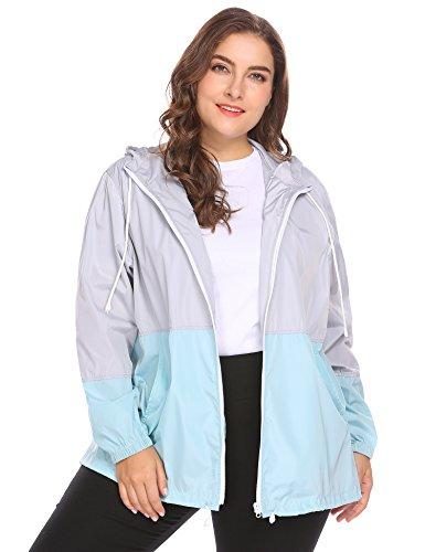 INVOLAND Womens Plus Size Rain Jacket Lightweight Hooded Waterproof Active Outdoor Rain Coat, grey, 24W
