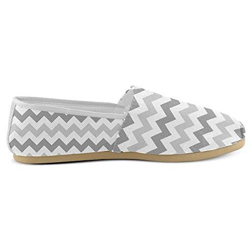 Mocassini Da Donna Di Interestprint Classico Su Tela Casual Slip On Fashion Shoes Sneakers Flat Grigio Chevron