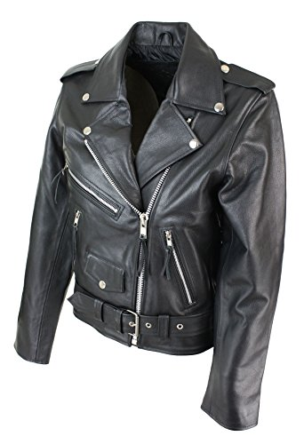 cuir motard couleur noire perfecto biker style Schwarz Brando Blouson femme Upwp1