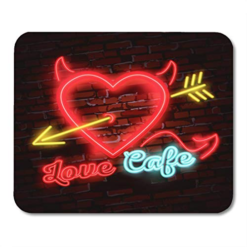 Semtomn Gaming Mouse Pad Vintage Neon Diner Sign Love Heart Arrow Power 9.5
