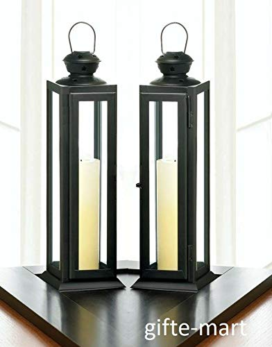 2 Black 12'' Tall Skinny Country Western Candle Holder Lantern Lamp Wedding Table Decorative Centerpieces for Living Dinning Room Table Decoration, Wedding Gifts