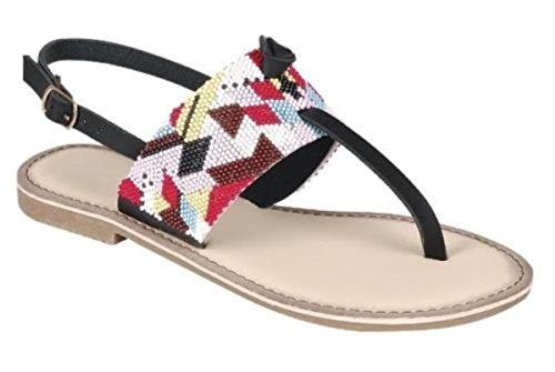 Damessleer T-strap Met Riemen Voor Dames Geribbelde Platte Sandalen Met Platte Gesp Zwart
