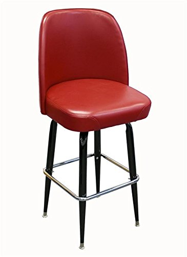 Black Finish Round Tapered (American Tables & Seating SR-4J Swivel Bar Stool, Jumbo Bucket Seat and Cross-Over Base, 3 Pitch Swivel, Welded Round Tapered Tubing, Black Enamel Finish, Seat Unattached, 18