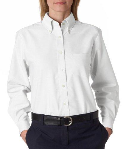 (UltraClub Ladies Classic Wrinkle-Free Long-Sleeve Oxford - White - L)