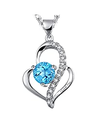 "Dawanza - Heart Pendant Necklace for Women Engraved""I Love You"" Heart Pendant Gift for Women"