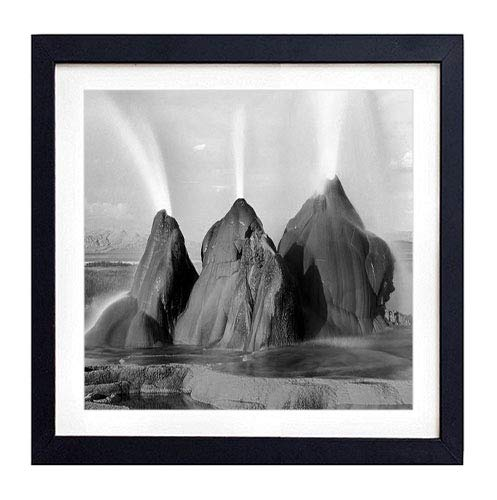 GLITZFAS PRINTS Framed Wall Art- Rocks Fountain Water Splashes- Art Print Black Wood Framed Wall Art Picture for Home Decoration - Black and White 16